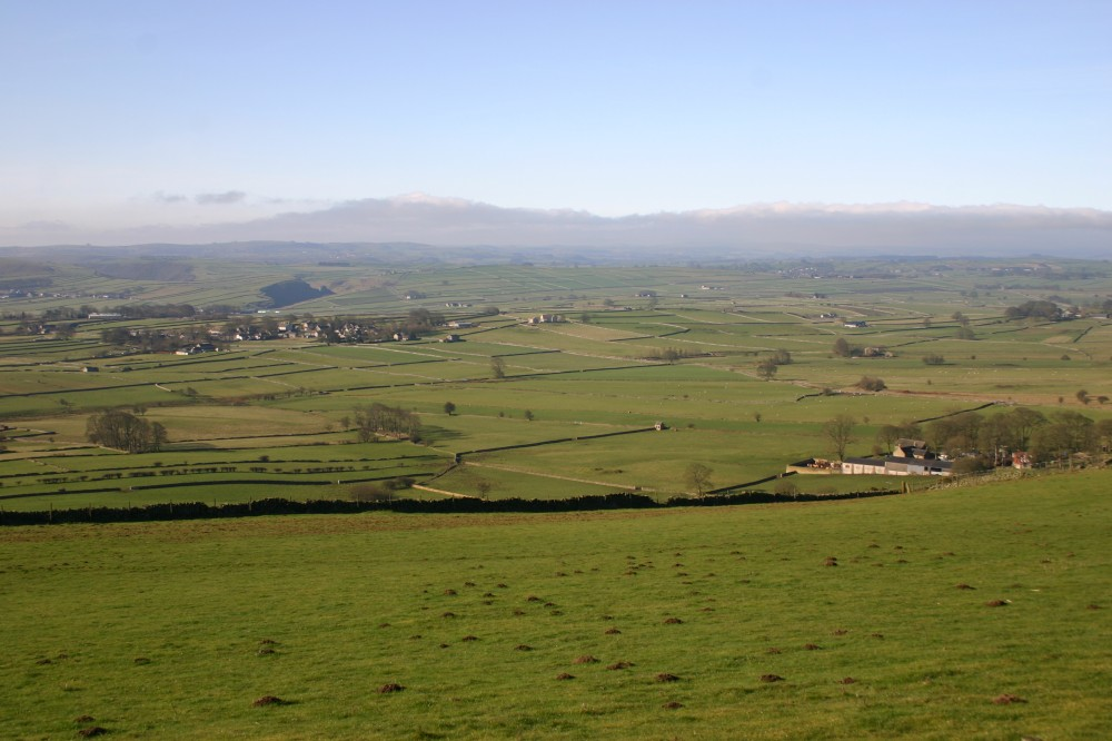 Looking southwest from Bretton Edge to Foolow, Peter's Stone and the road to Litton