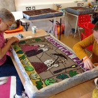 well dressing in progress
