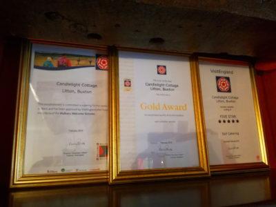 5 Star, Gold Award, Walkers Welcome Award.